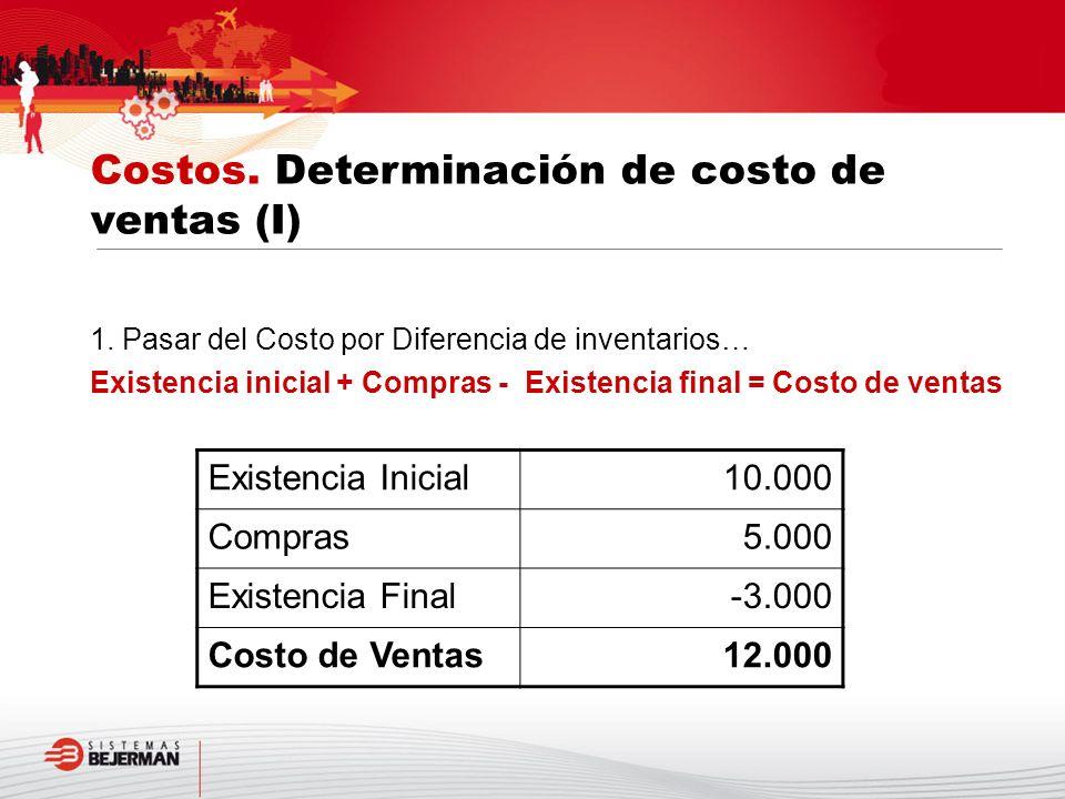 Costos. Determinación de costo de ventas (I)