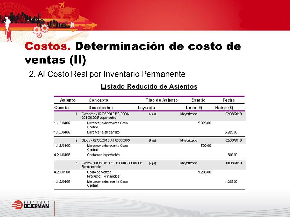 Costos. Determinación de costo de ventas (II)
