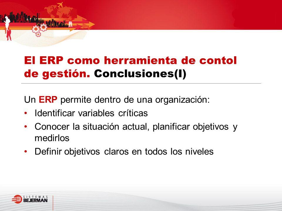 El ERP como herramienta de contol de gestión. Conclusiones(I)
