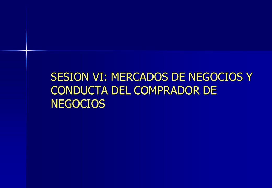 SESION VI: MERCADOS DE NEGOCIOS Y CONDUCTA DEL COMPRADOR DE NEGOCIOS