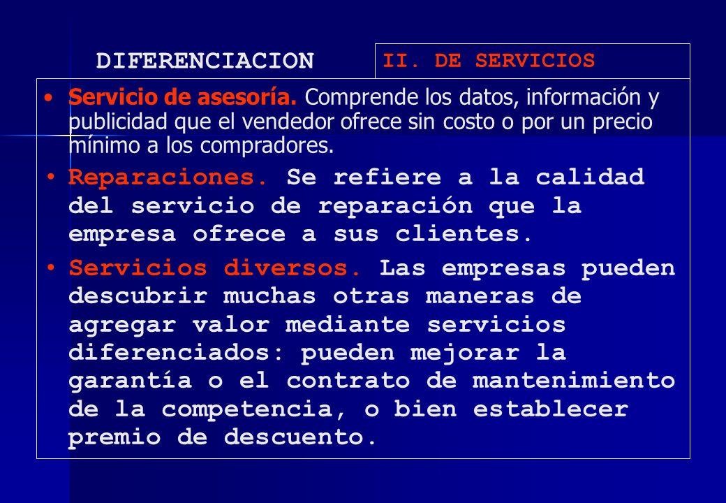 DIFERENCIACION II. DE SERVICIOS.
