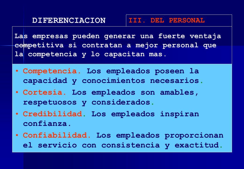 DIFERENCIACION III. DEL PERSONAL.