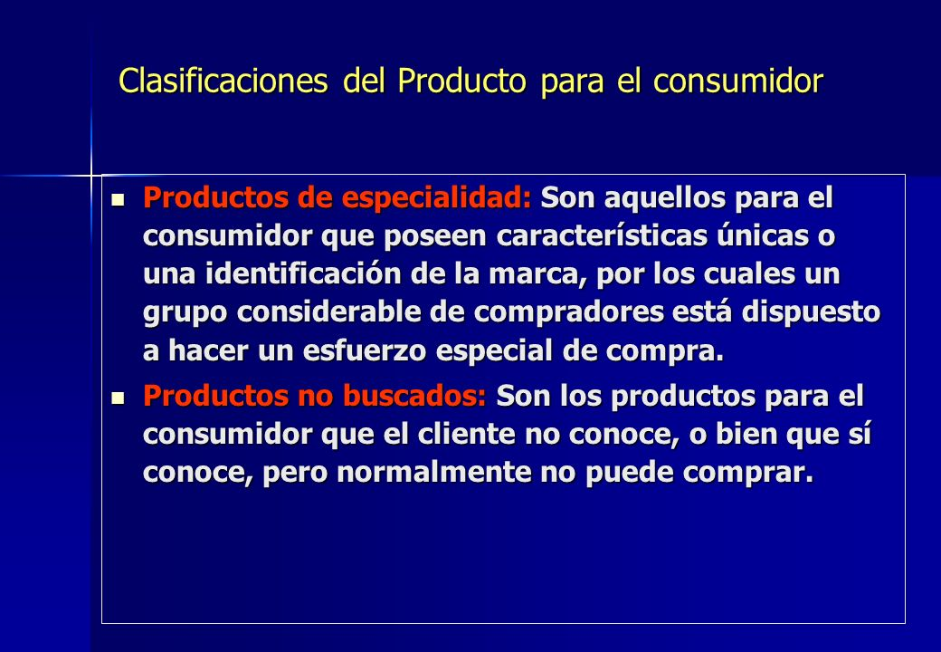 Clasificaciones del Producto para el consumidor