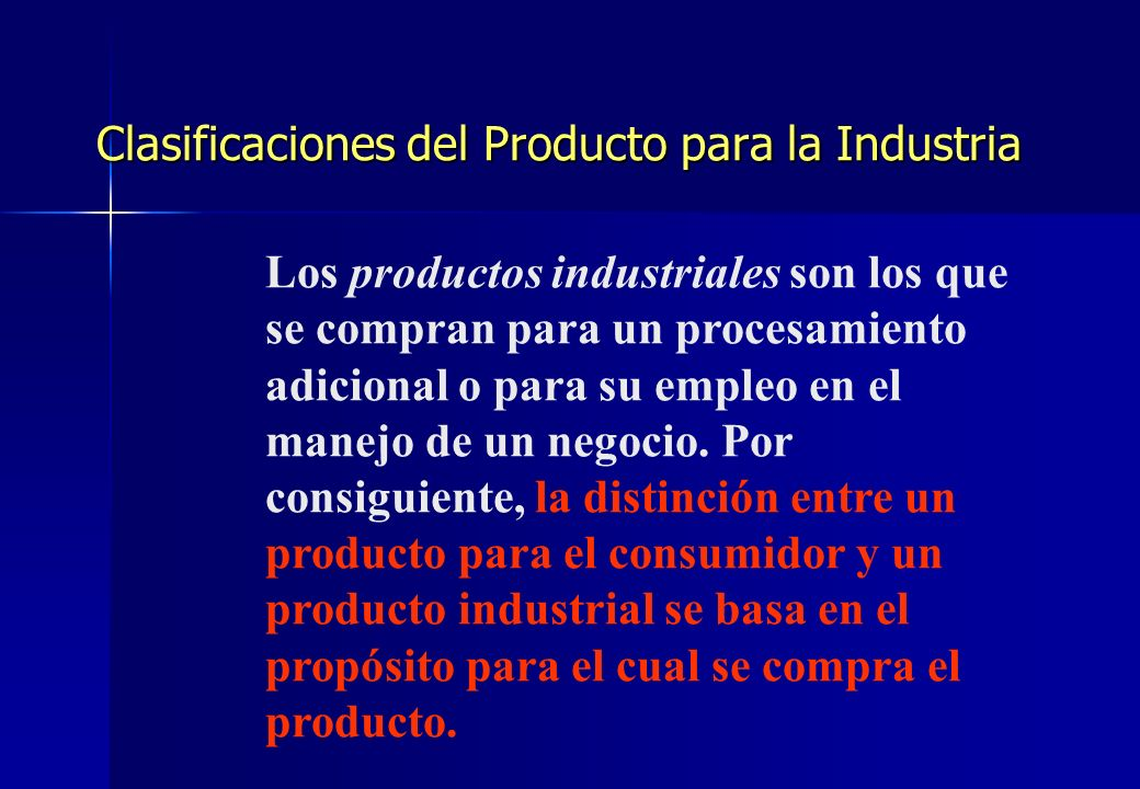 Clasificaciones del Producto para la Industria