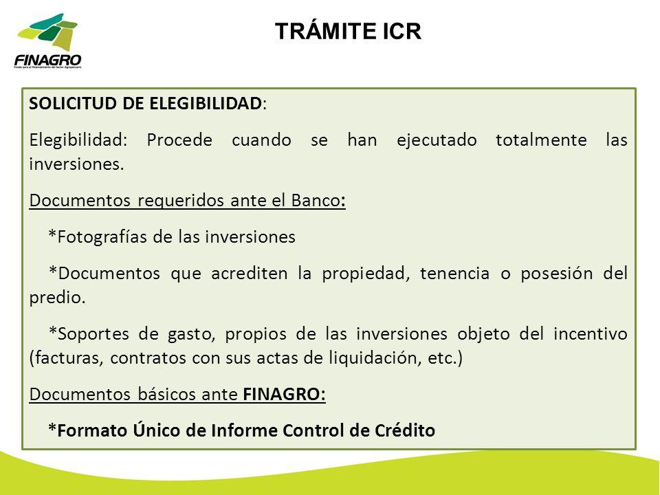 TRÁMITE ICR SOLICITUD DE ELEGIBILIDAD: