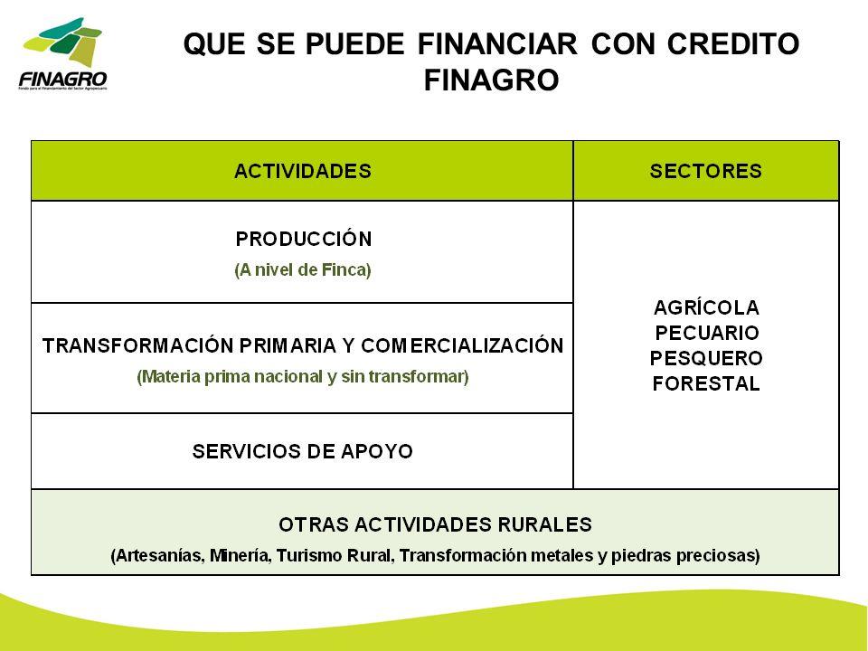 QUE SE PUEDE FINANCIAR CON CREDITO FINAGRO