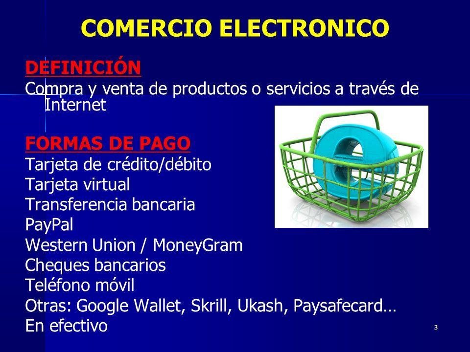 COMERCIO ELECTRONICO DEFINICIÓN FORMAS DE PAGO