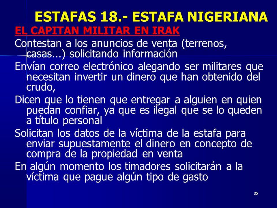 ESTAFAS 18.- ESTAFA NIGERIANA