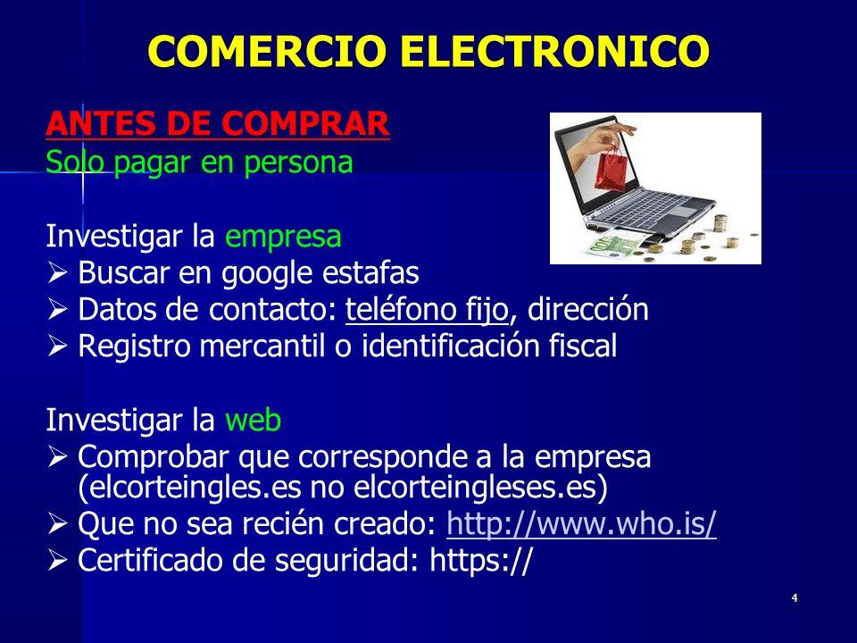 COMERCIO ELECTRONICO ANTES DE COMPRAR Solo pagar en persona