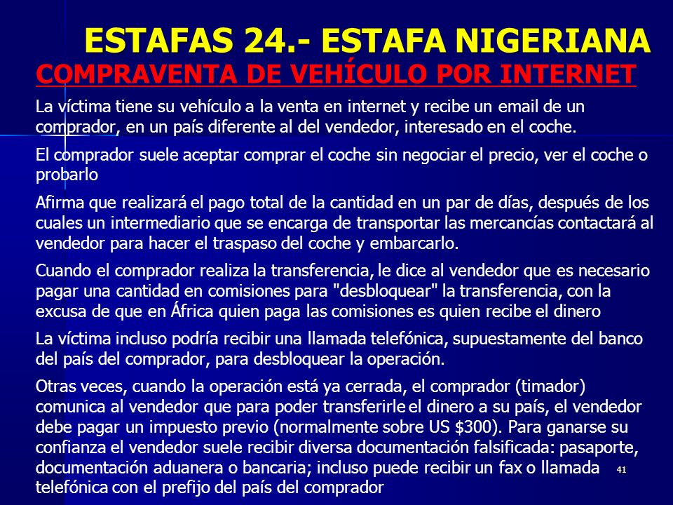 ESTAFAS 24.- ESTAFA NIGERIANA