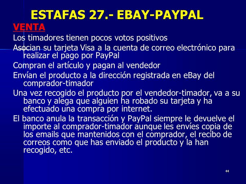 ESTAFAS 27.- EBAY-PAYPAL VENTA