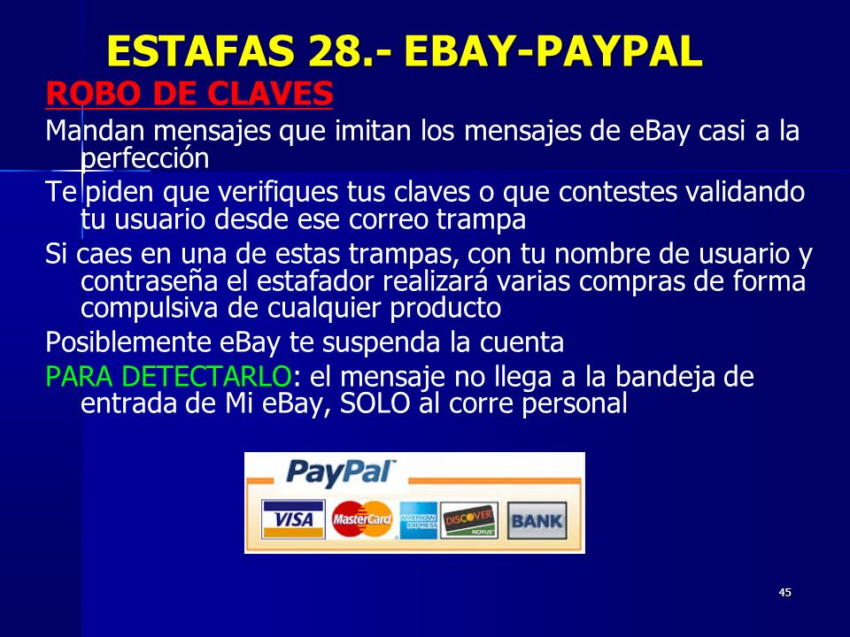 ESTAFAS 28.- EBAY-PAYPAL ROBO DE CLAVES