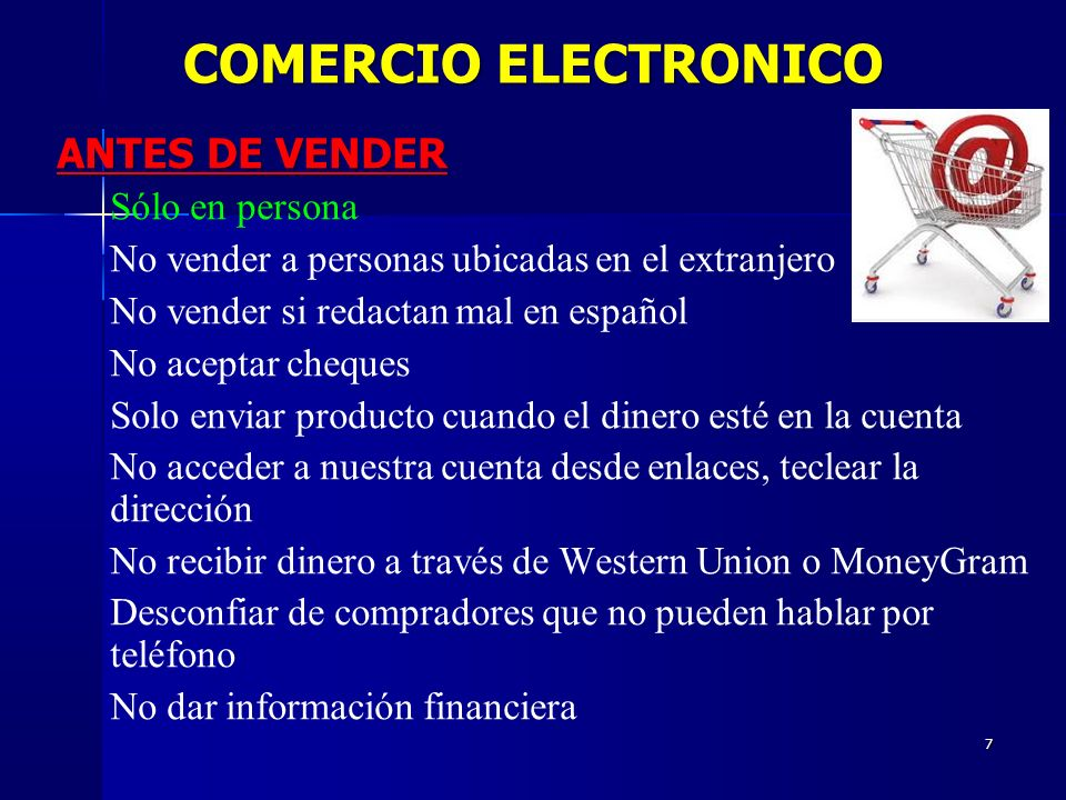 COMERCIO ELECTRONICO ANTES DE VENDER Sólo en persona