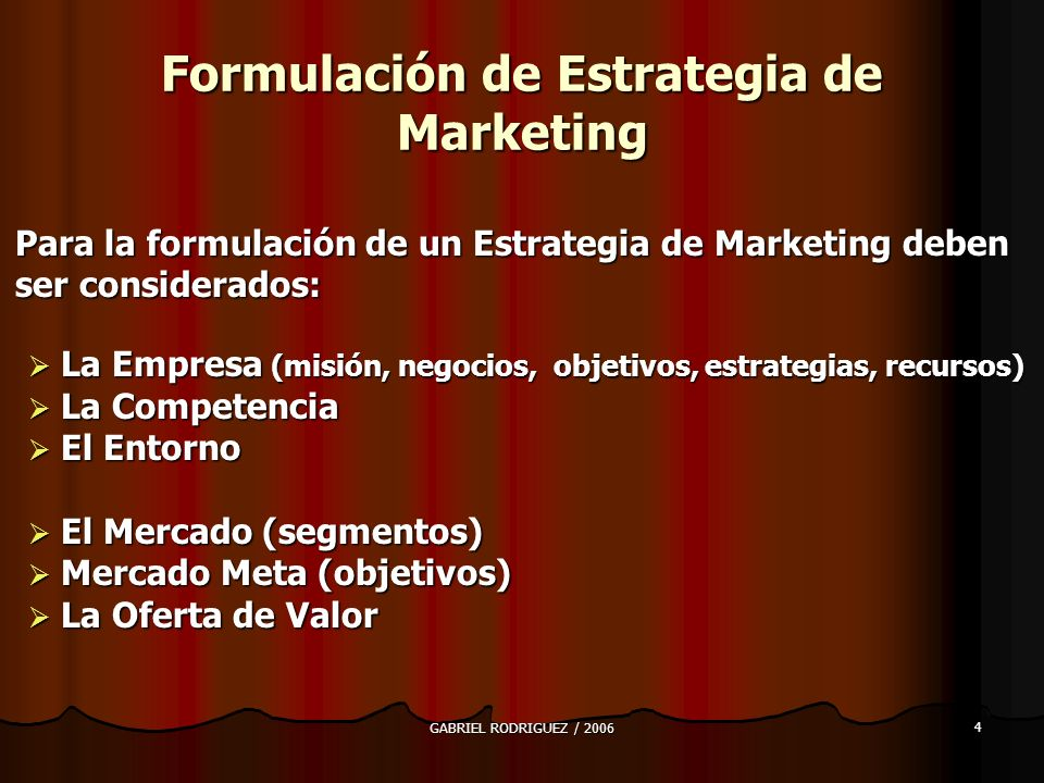 Formulación de Estrategia de Marketing