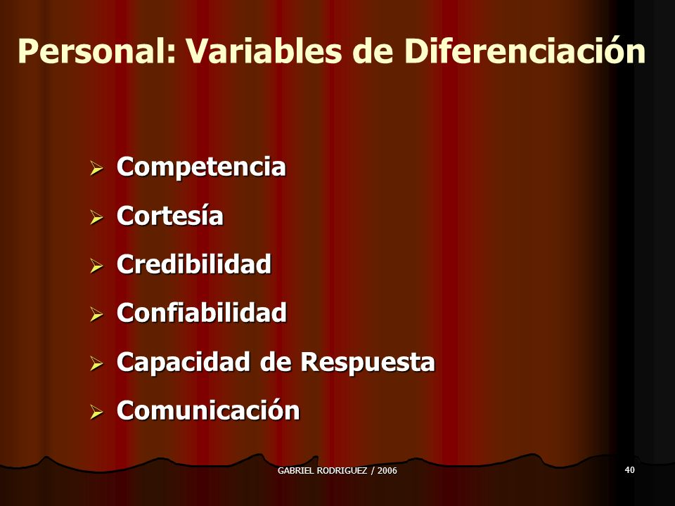 Personal: Variables de Diferenciación