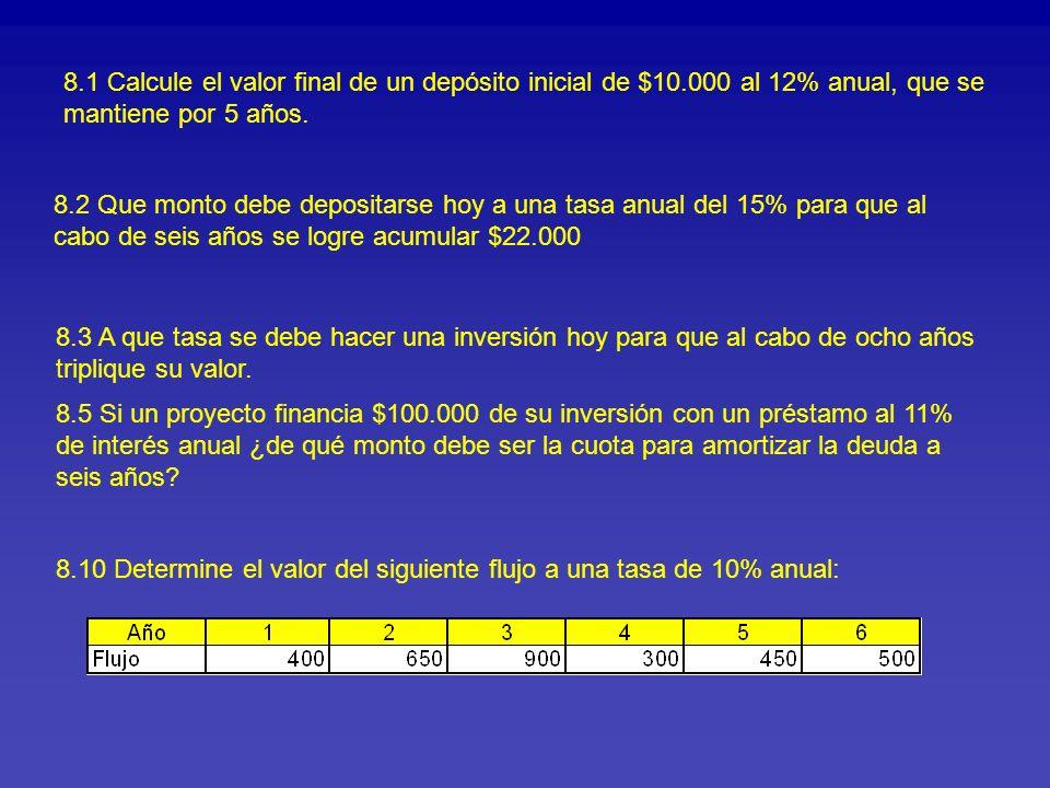8. 1 Calcule el valor final de un depósito inicial de $10