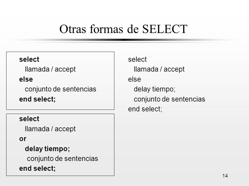 Otras formas de SELECT select llamada / accept else