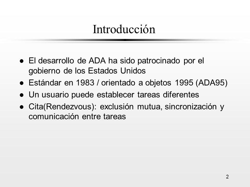 Introducción El desarrollo de ADA ha sido patrocinado por el gobierno de los Estados Unidos. Estándar en 1983 / orientado a objetos 1995 (ADA95)