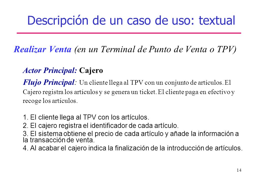 Descripción de un caso de uso: textual