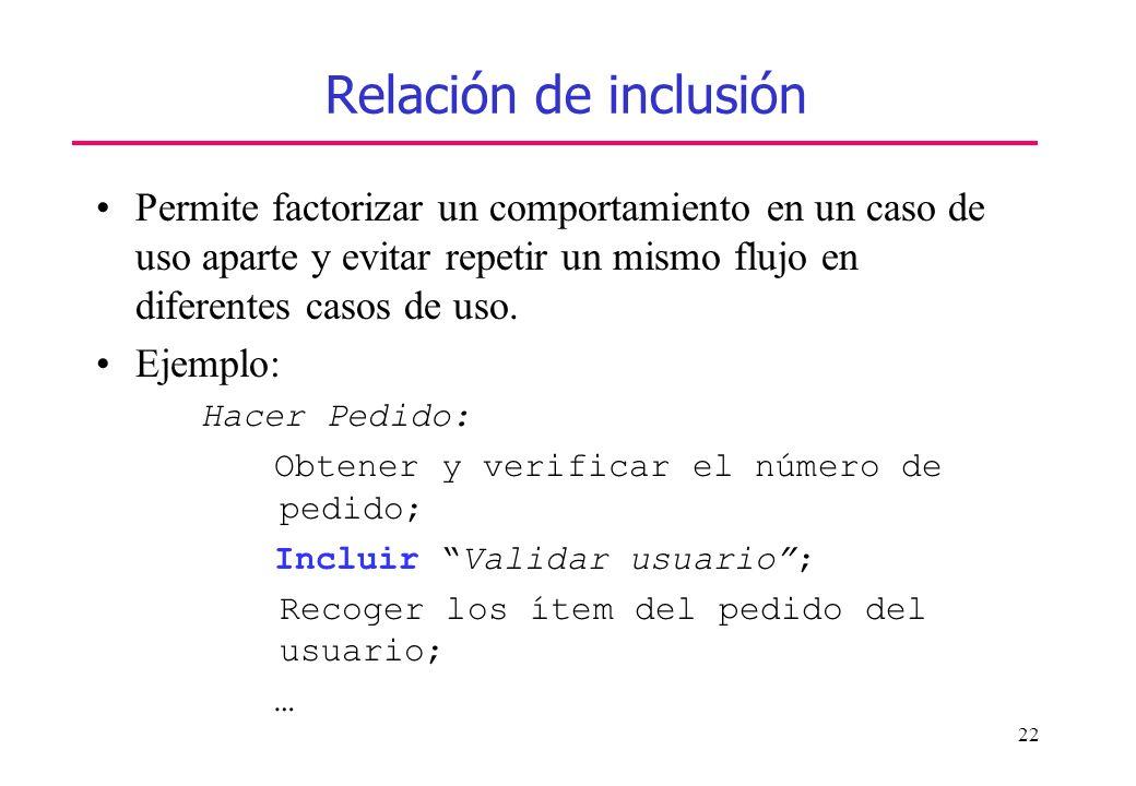 Relación de inclusión Permite factorizar un comportamiento en un caso de uso aparte y evitar repetir un mismo flujo en diferentes casos de uso.
