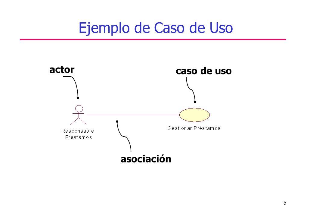 Ejemplo de Caso de Uso actor caso de uso asociación