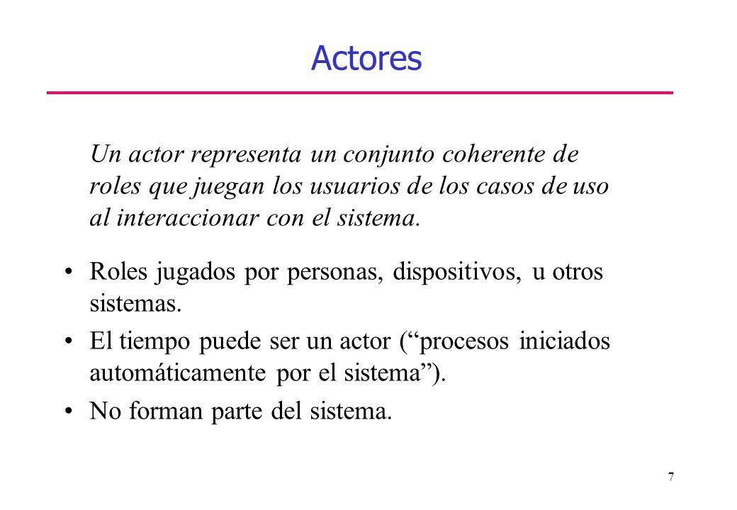 Actores Un actor representa un conjunto coherente de roles que juegan los usuarios de los casos de uso al interaccionar con el sistema.