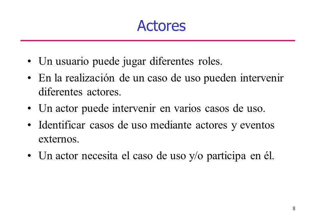 Actores Un usuario puede jugar diferentes roles.