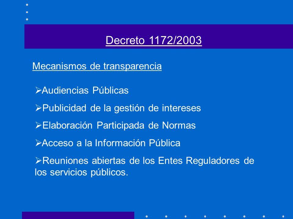 Decreto 1172/2003 Mecanismos de transparencia Audiencias Públicas