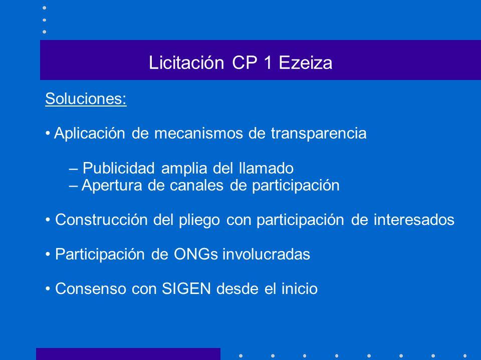 Licitación CP 1 Ezeiza Soluciones:
