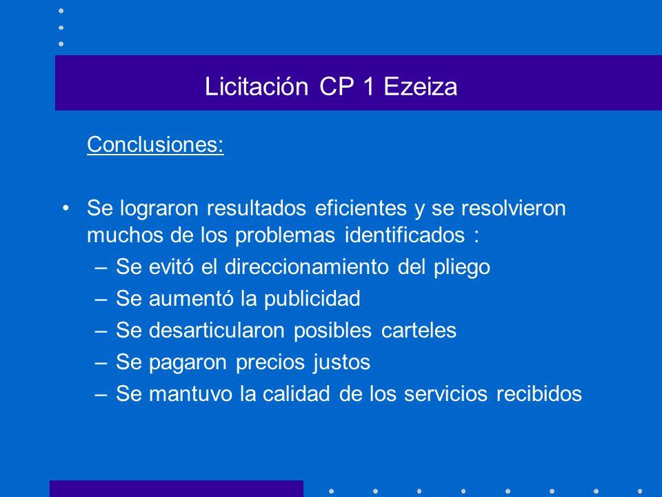 Licitación CP 1 Ezeiza Conclusiones: