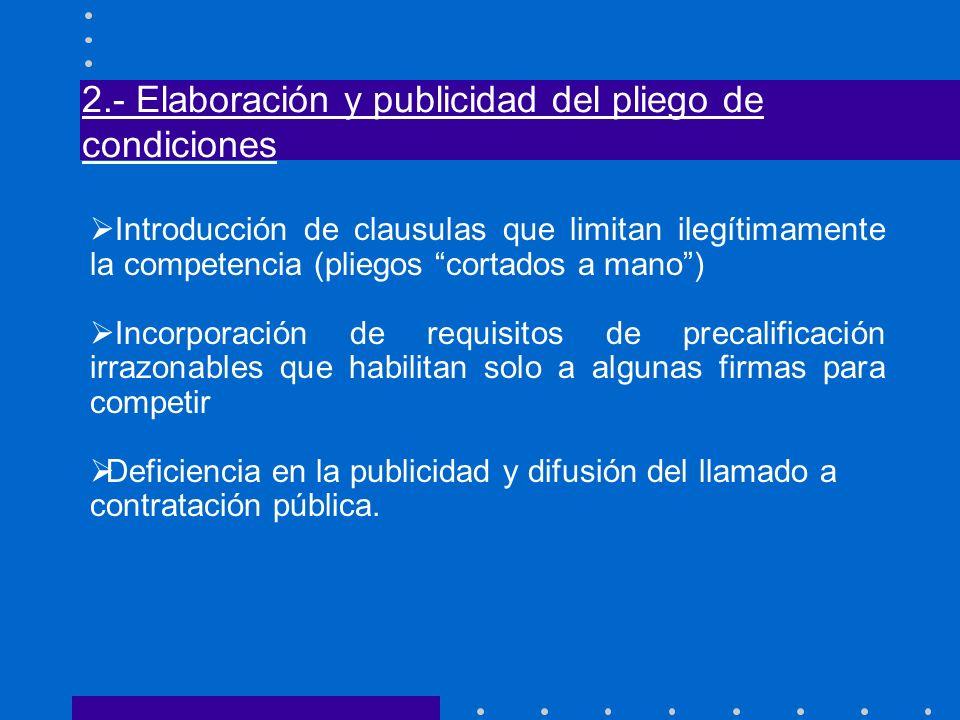 2.- Elaboración y publicidad del pliego de condiciones