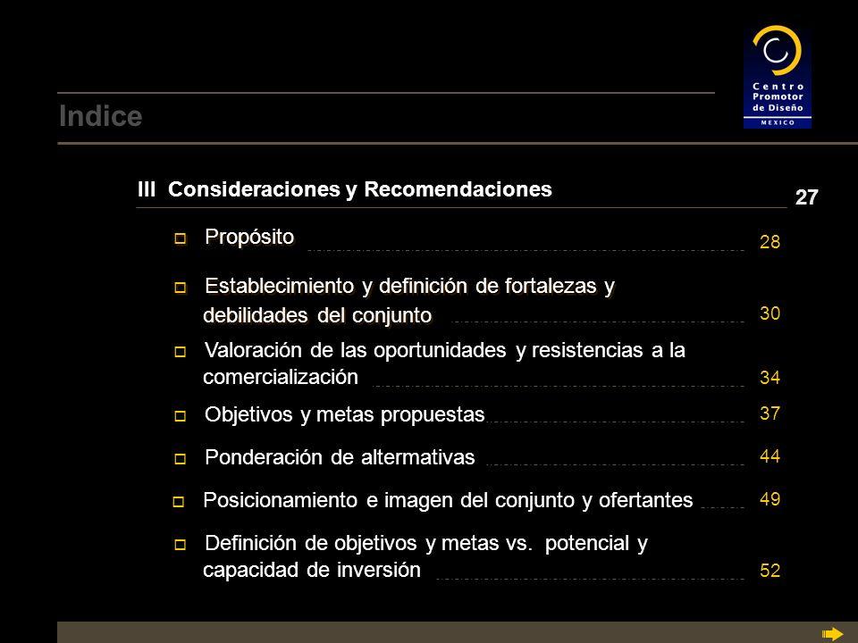 Indice III Consideraciones y Recomendaciones 27 Propósito