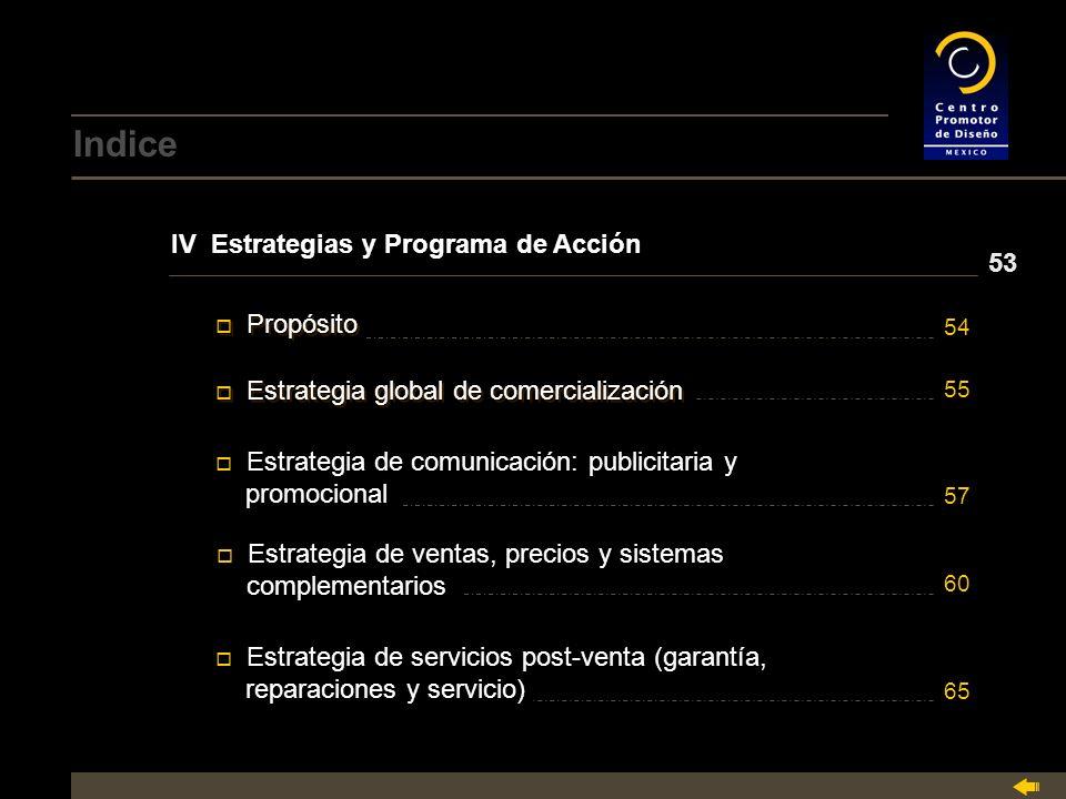 Indice IV Estrategias y Programa de Acción 53 Propósito