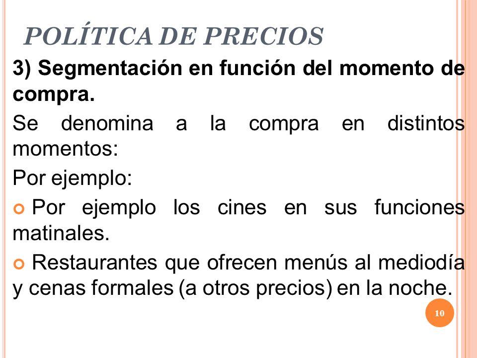 POLÍTICA DE PRECIOS 3) Segmentación en función del momento de compra.