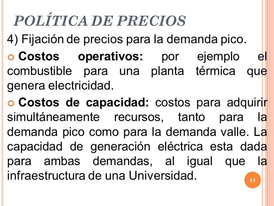 POLÍTICA DE PRECIOS 4) Fijación de precios para la demanda pico.