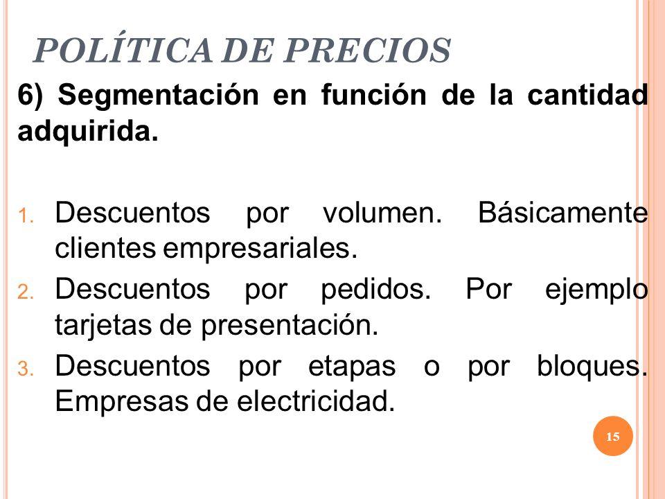 POLÍTICA DE PRECIOS 6) Segmentación en función de la cantidad adquirida. Descuentos por volumen. Básicamente clientes empresariales.