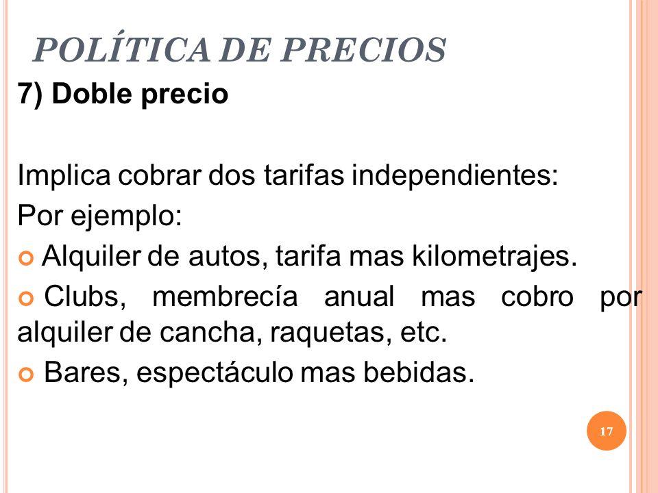 POLÍTICA DE PRECIOS 7) Doble precio