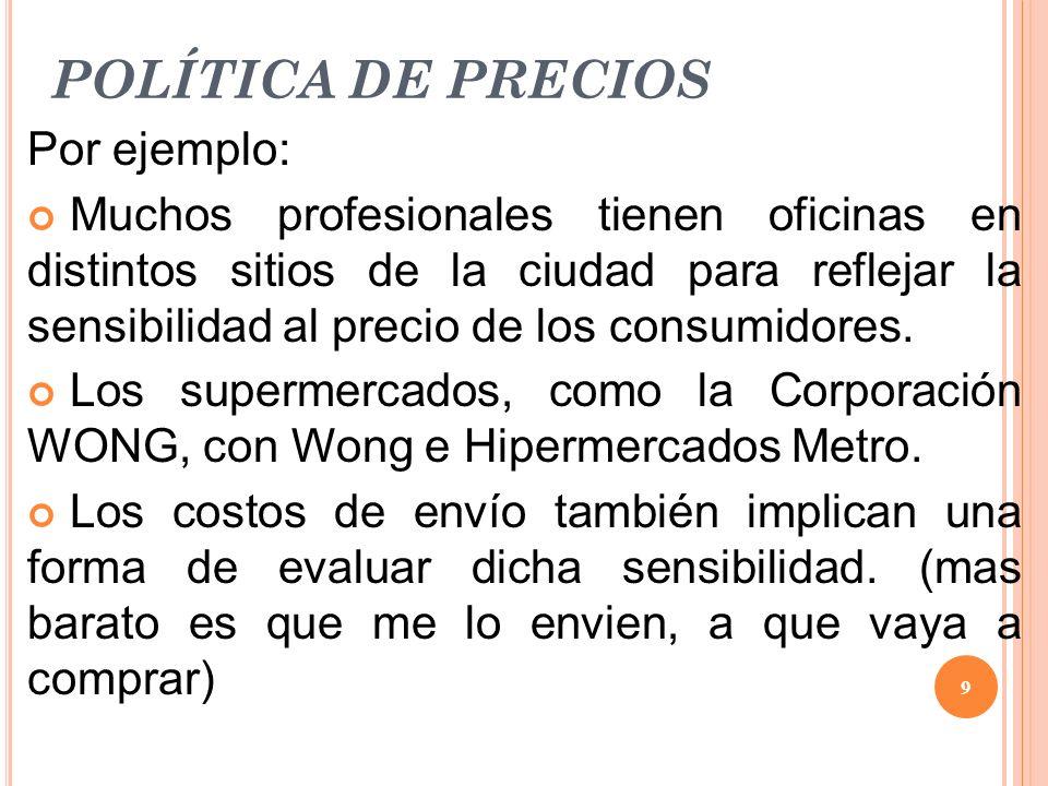 POLÍTICA DE PRECIOS Por ejemplo: