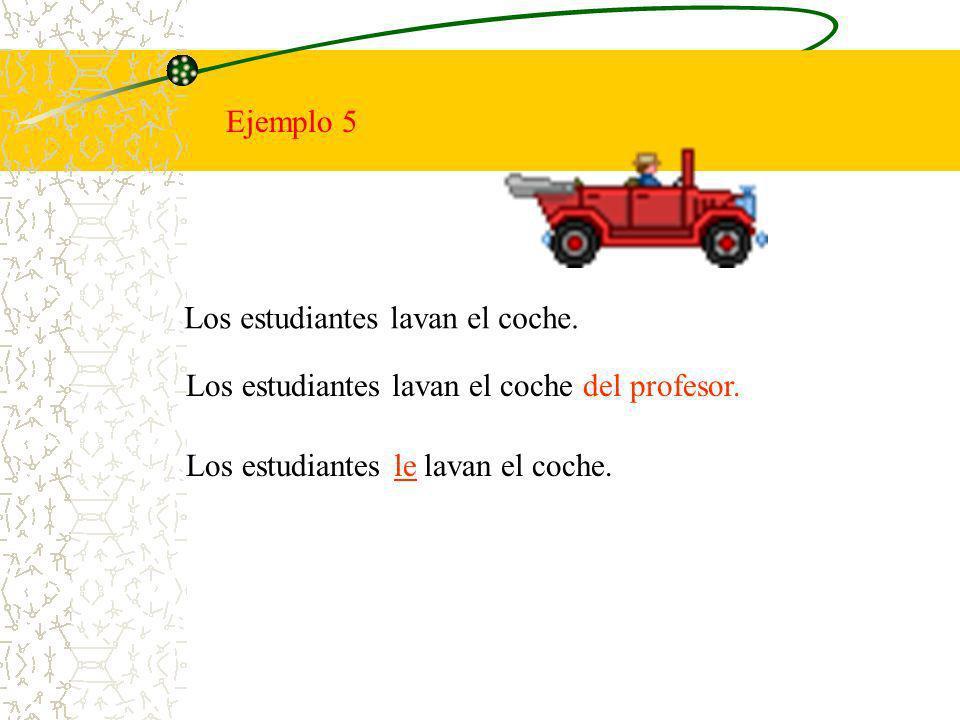 Ejemplo 5 Los estudiantes lavan el coche. Los estudiantes lavan el coche del profesor. Los estudiantes lavan el coche.