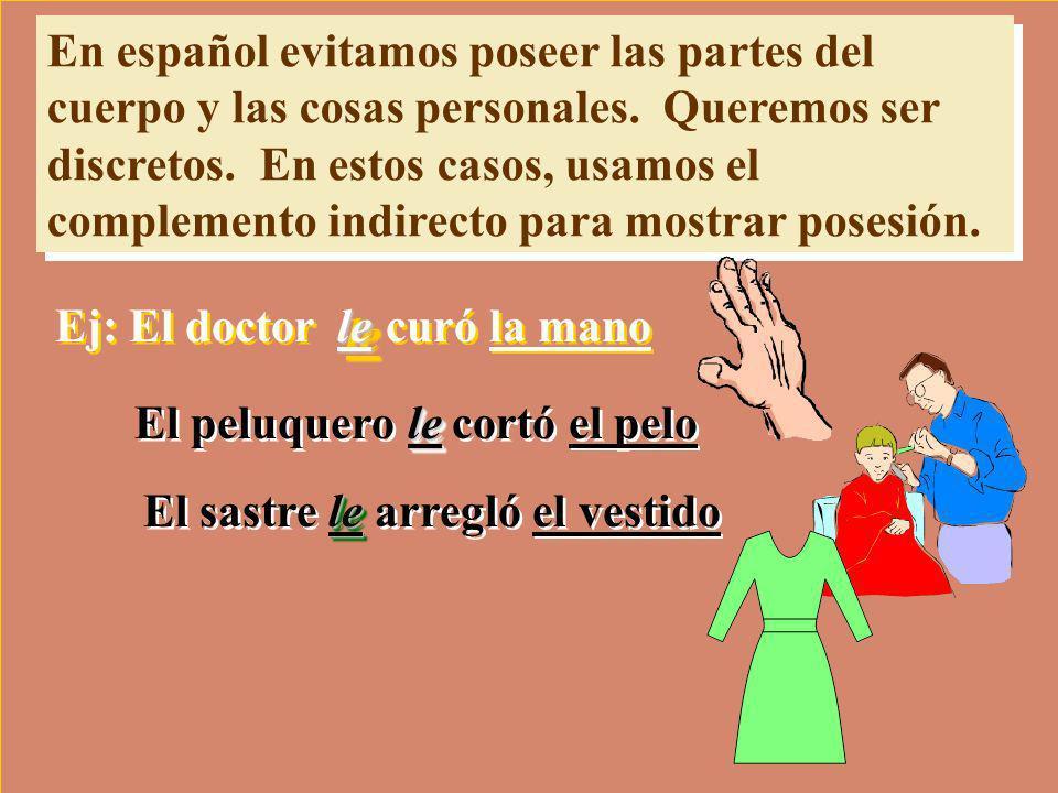 En español evitamos poseer las partes del