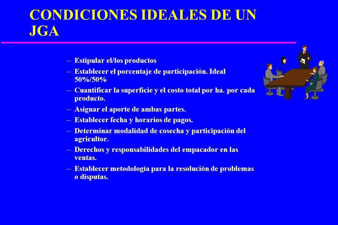 CONDICIONES IDEALES DE UN JGA