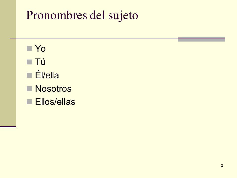 Pronombres del sujeto Yo Tú Él/ella Nosotros Ellos/ellas