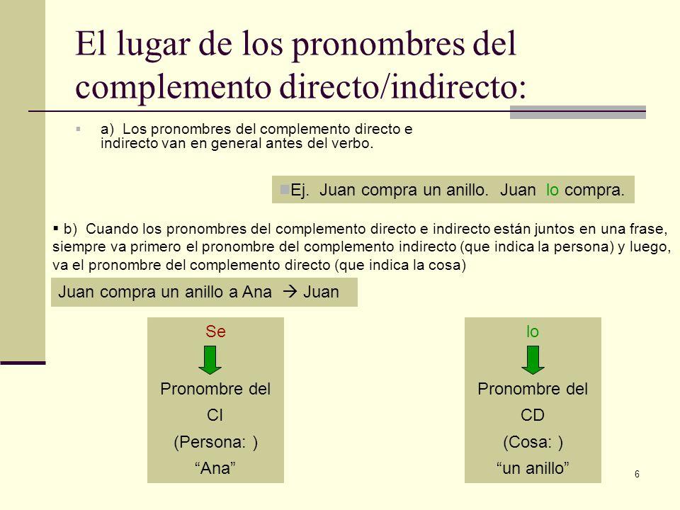 El lugar de los pronombres del complemento directo/indirecto: