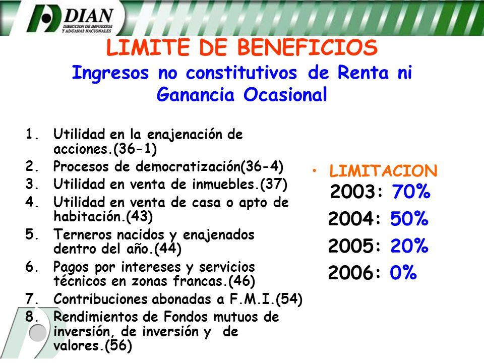 LIMITE DE BENEFICIOS Ingresos no constitutivos de Renta ni Ganancia Ocasional