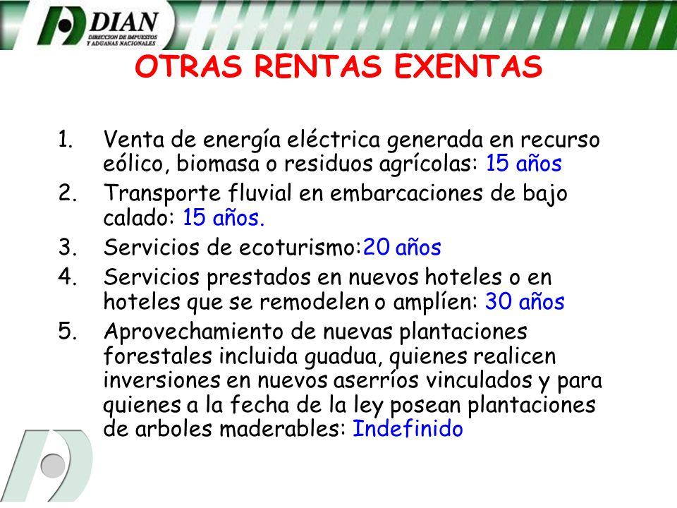 OTRAS RENTAS EXENTASVenta de energía eléctrica generada en recurso eólico, biomasa o residuos agrícolas: 15 años.