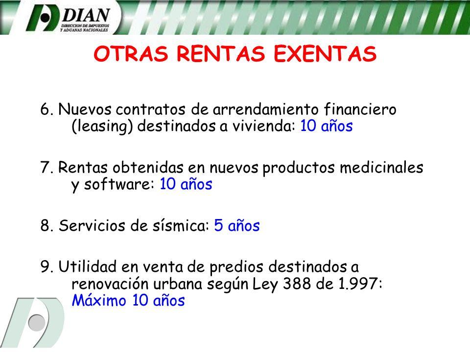 OTRAS RENTAS EXENTAS6. Nuevos contratos de arrendamiento financiero (leasing) destinados a vivienda: 10 años.
