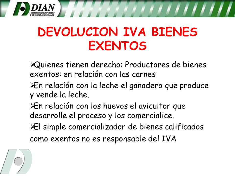 DEVOLUCION IVA BIENES EXENTOS