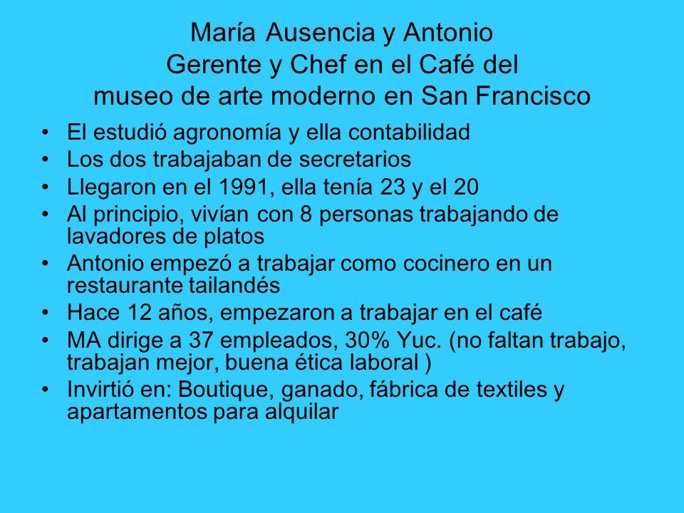 María Ausencia y Antonio Gerente y Chef en el Café del museo de arte moderno en San Francisco