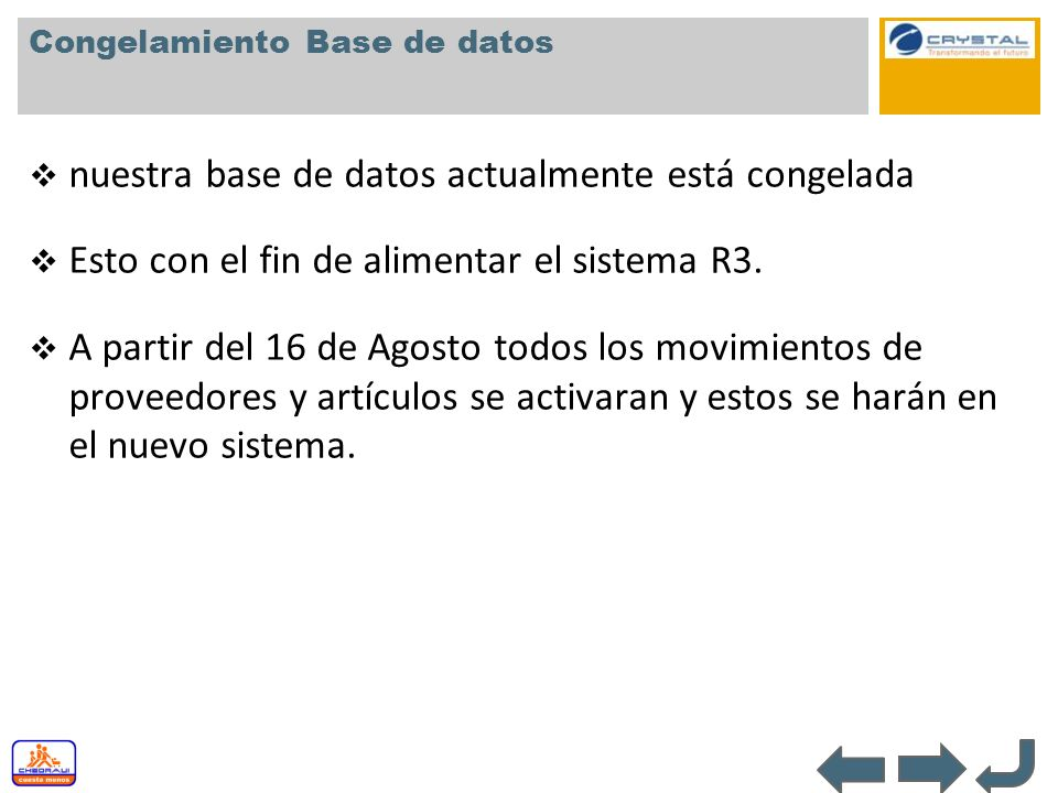 Congelamiento Base de datos