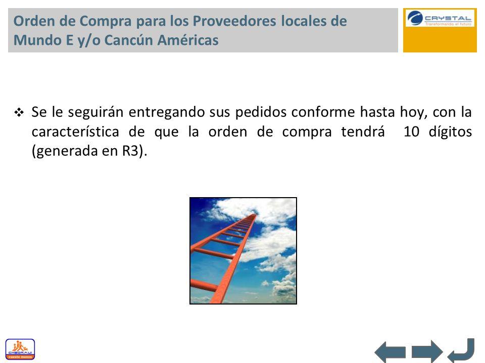 Orden de Compra para los Proveedores locales de Mundo E y/o Cancún Américas